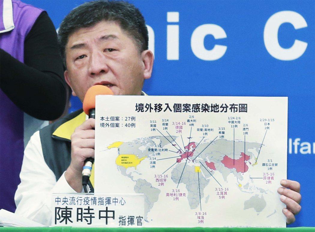 中央流行疫情指揮中心指揮官陳時中昨(16日)宣布明知故犯前往警示區染疫旅遊,將加徵防疫費用,並公布姓名。記者黃義書/攝影