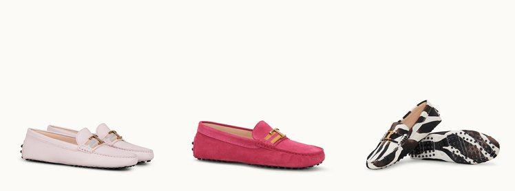 左:Timeless粉膚色織帶裝飾豆豆鞋 NT$23,500。中:Timeles...