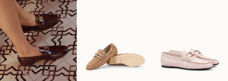 左:優雅復古的樂福鞋型搭配金色T字LOGO更顯氣質韻味。中:Timeless織帶...