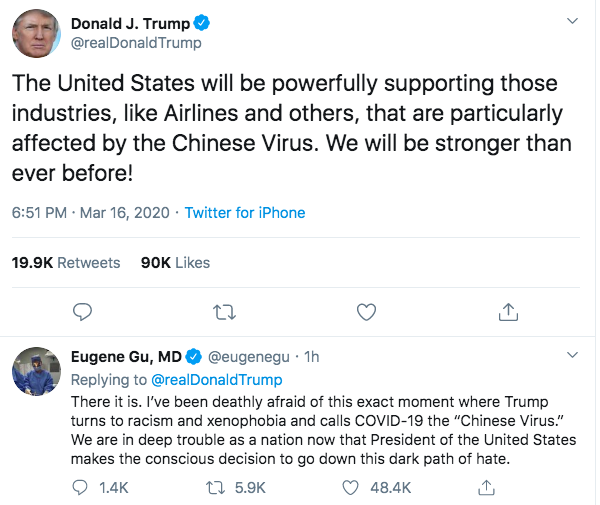 美國總統川普以「中國病毒」來形容新型冠狀病毒,引發種族主義論戰,華裔醫師顧優靜在底下留言批川普打開仇恨與暴力之門。圖/取自推特