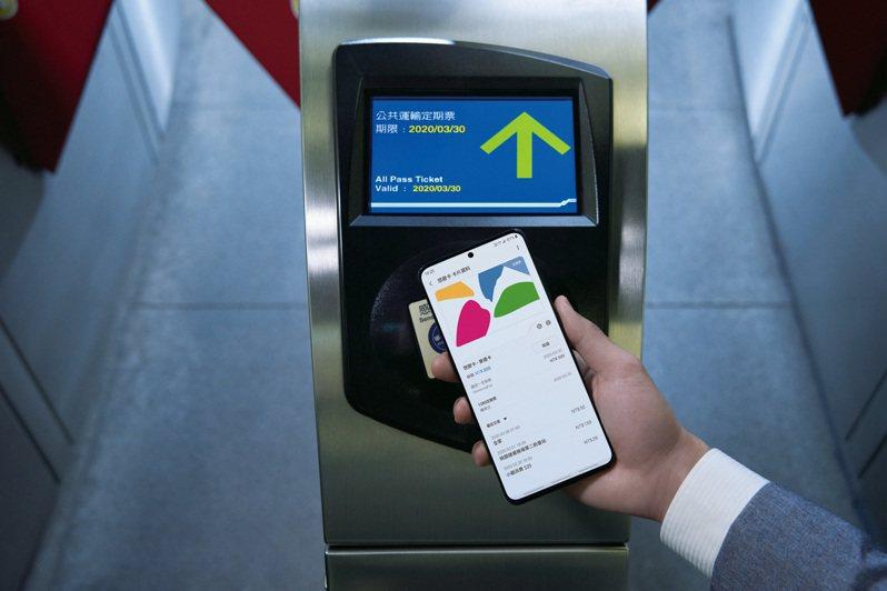Samsung Pay悠遊卡不需解鎖螢幕或開啟應用程式就可隨「嗶」隨付。圖/三星提供