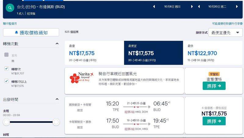 機票達人布萊N近日在臉書發文,他po出台北到布達佩斯的機票,來回最便宜只要17575元。圖取自「布萊N 機票達人」