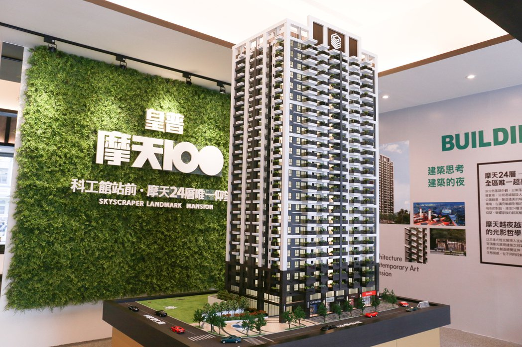 「皇普摩天100」地上24樓、地下5樓,21至39坪,二至三房首購輕豪宅。 攝影...