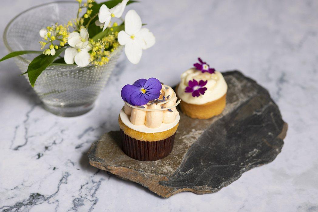 南投枇杷薰衣草杯子蛋糕和枇杷杏仁奶油薄餅。