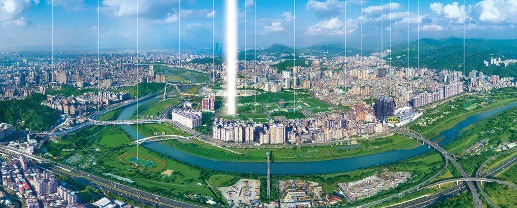 新店央北樂活生活特區鳥瞰。圖/長虹建設提供