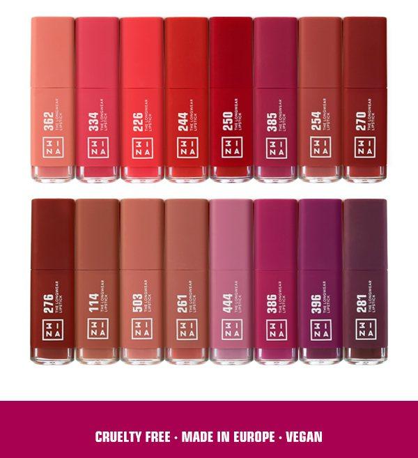 「微刺青印色唇釉」全系列共16色,絕對能滿足霧面唇彩愛好者。圖/3INA提供
