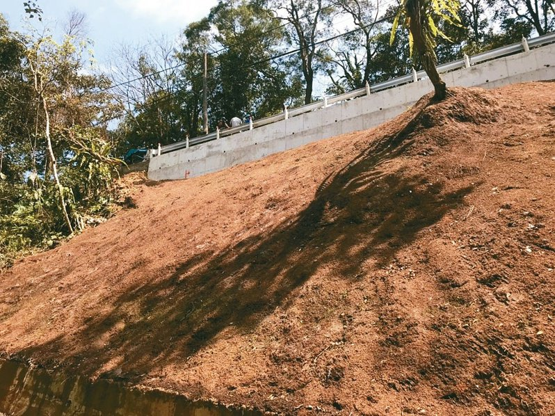 石碇區永安里獅仔頭坑巷道路邊坡滑落,農業局整理後先以鐵絲網固定,再噴灑混合種子與肥料的植化土,除了有固定效果,也能綠美化。 圖/新北市農業局提供