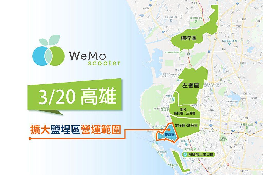 WeMo Scooter 2020年起每月擴大營運區域,今宣布擴大高雄核心營運範...