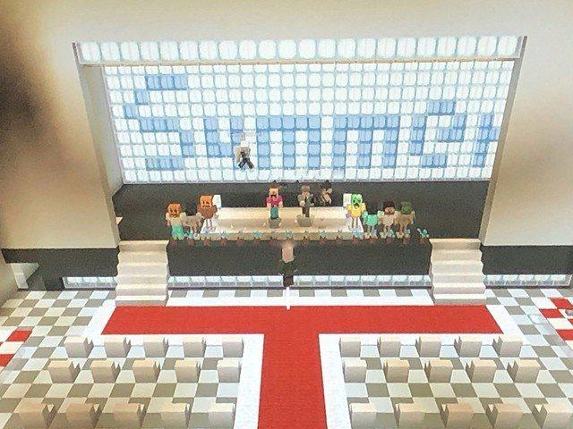 日本一群年齡各異的中小學生,在Minecraft上舉辦因疫情停辦的畢業典禮。圖/Twitter