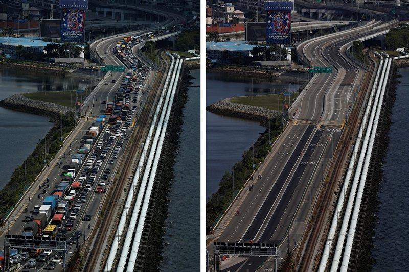 有將近40萬馬來西亞人,每日透過新柔長堤往返新加坡工作與求學。左圖攝於3月17日,右圖為管制生效後的18日。 圖/路透社