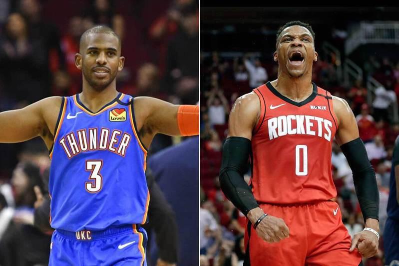 保羅(左)和衛斯特布魯克(右)兩人本季因交易案而互換球隊,結果在NBA封館之前,雷霆和火箭剛好打出一模一樣的戰績! 美聯社