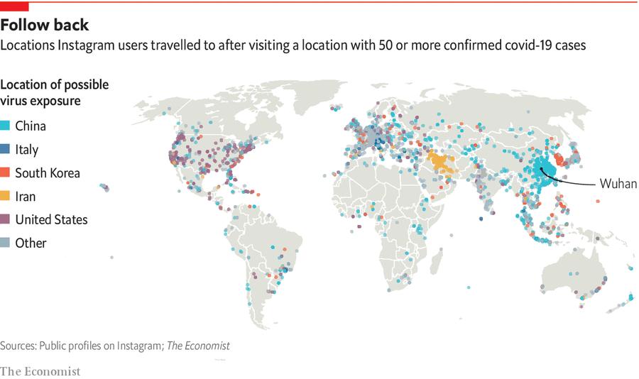 根據《經濟學人》的分析,Instagram用戶的打卡路徑,或許可以對了解病毒傳播路徑併進一步圍堵,提供珍貴數據。(photo from 經濟學人)