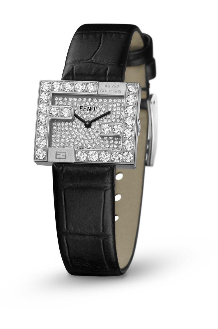 FENDI Fendimania限量白K金鑽表,價格店洽。圖/FENDI提供
