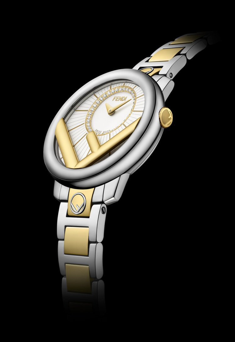 FENDI Run Away雙色半金鑽表,47,000元。圖/FENDI提供