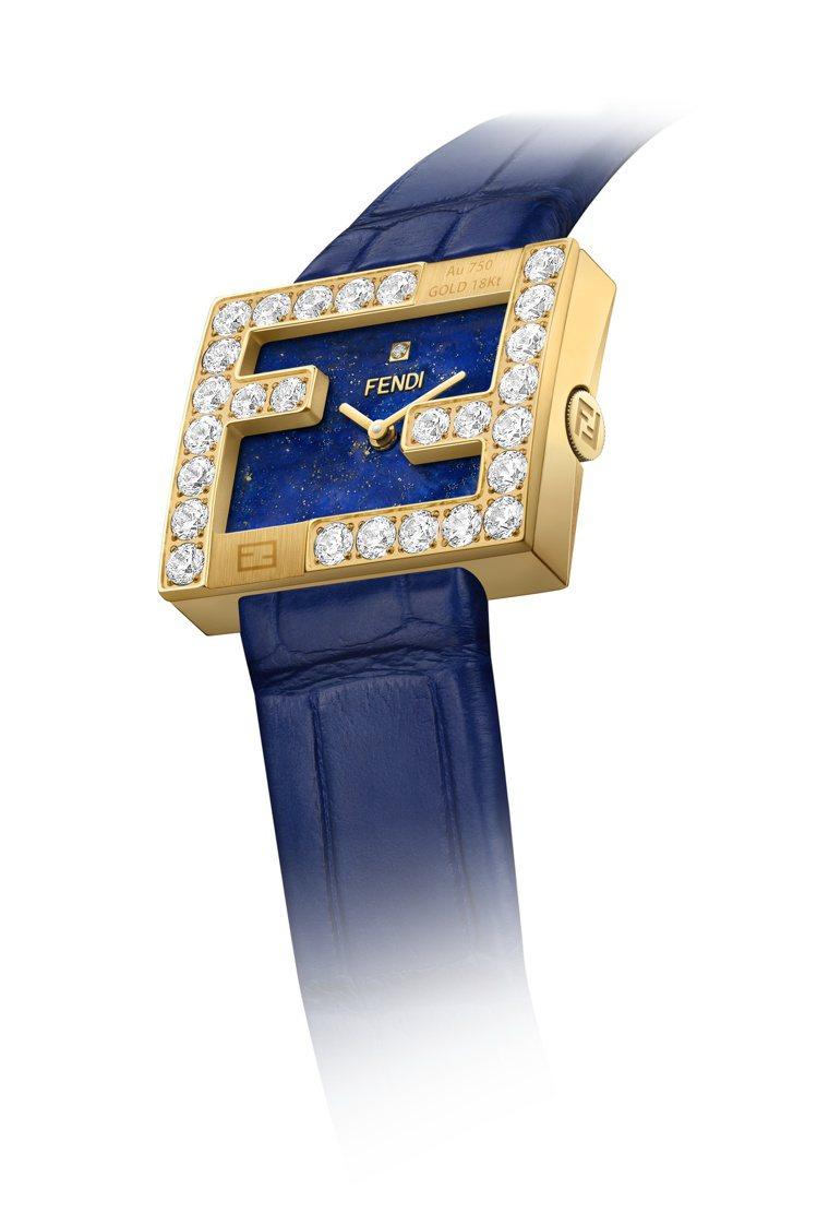 FENDI Fendimania限量黃K金青金石鑽表,價格店洽。圖/FENDI提...