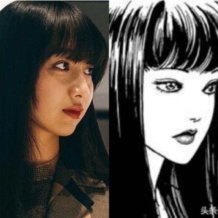 網友表示木村心美的髮型神似伊藤潤二漫畫的「富江」。圖/取自IG及Toutiao