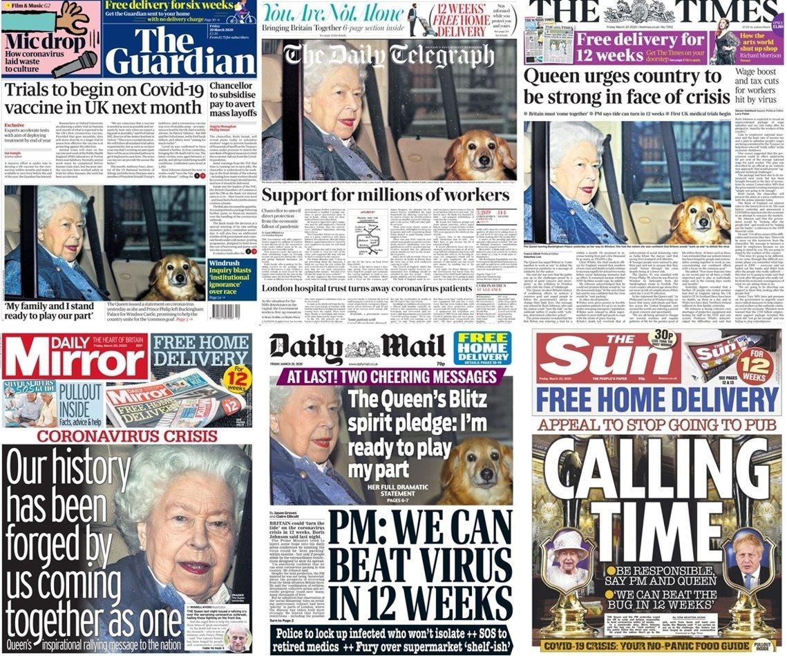 19日英國各大頭版的照片。 圖/各大報紙頭條
