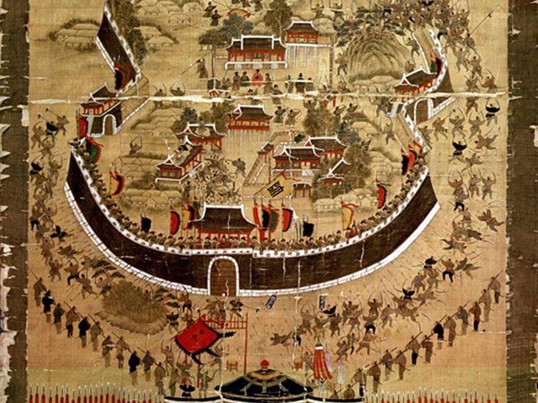 繪於1760年,現藏於韓國陸軍士官學校博物館所蔵的《東萊府殉節圖》,該圖描繪15