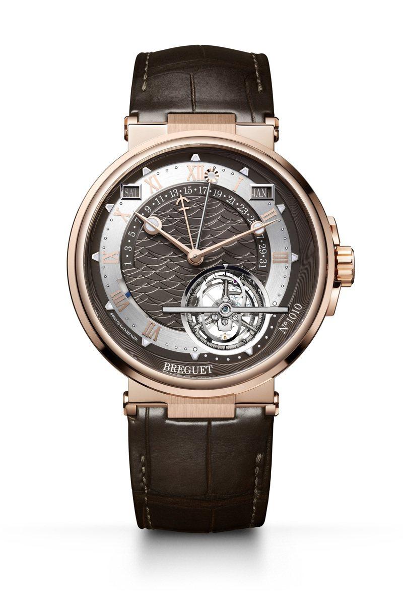 Breguet,航海系列時間等式萬年曆陀飛輪腕表,玫瑰金,43.9毫米,自動上鍊機芯,時間顯示,陀飛輪、萬年曆、時間等式功能,價格店洽。圖 / Breguet提供。