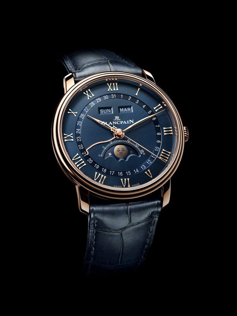 使用藍色表面搭配玫瑰金的Blancpain Quantième Complet全日曆月相腕表,具有隱藏式調校機制,將時間節奏輕鬆掌握。81萬8,000元。圖 / Blancpain提供。
