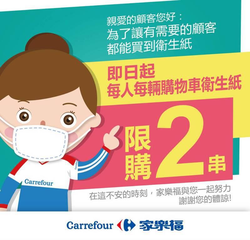 家樂福表示,衛生紙每人每車限購2串衛生紙即日生效。 圖/家樂福提供