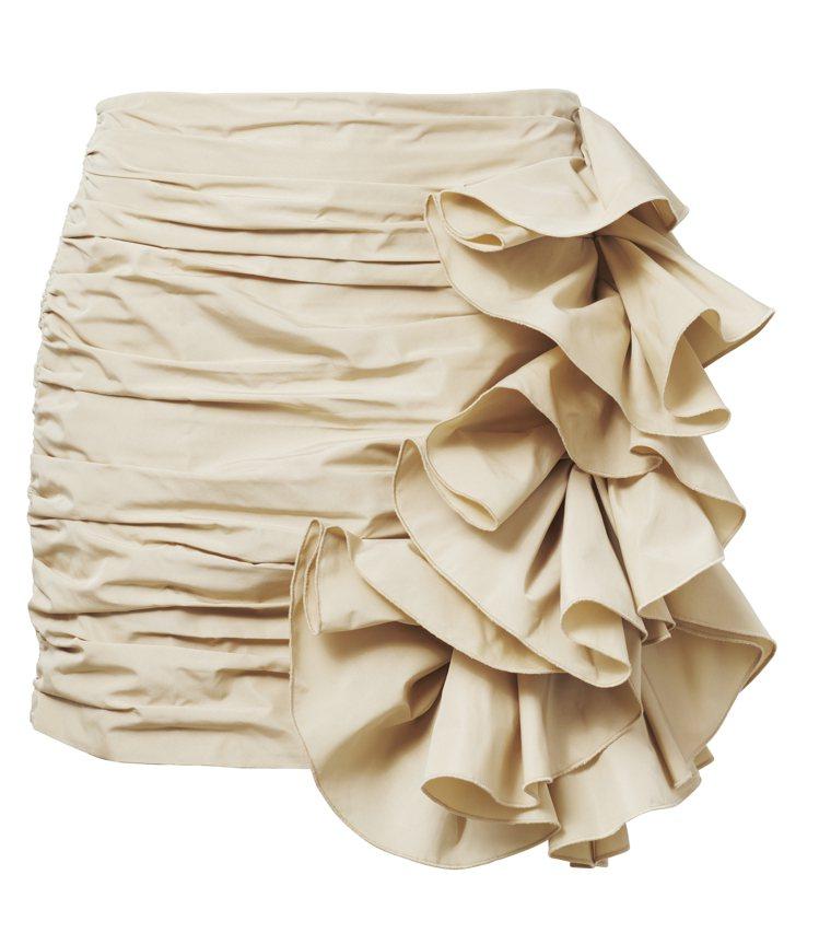 H&M春夏Conscious Exclusive系列紗色抓皺裙1,799元。圖/...