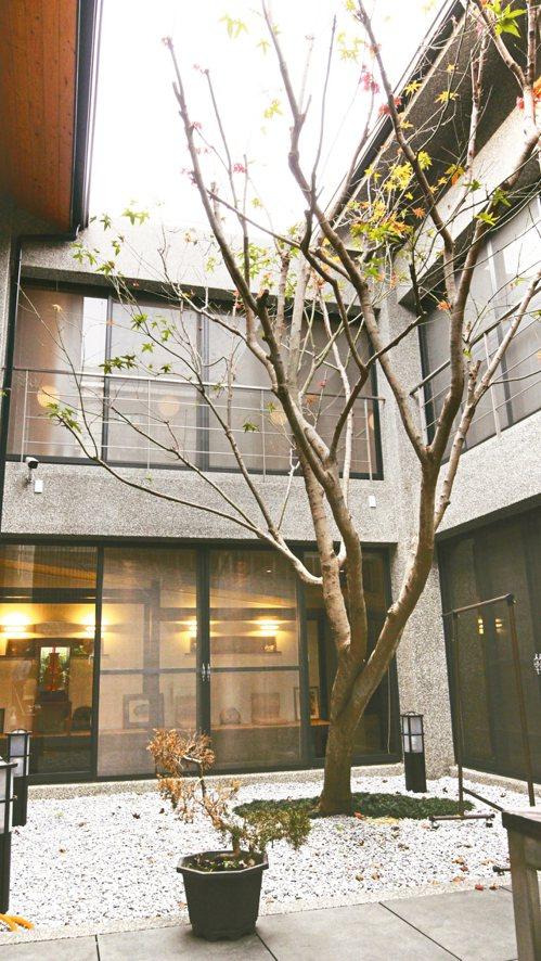 曹汶龍為母親打造的玻璃屋,建物環繞中庭視野通透。 記者吳貞瑩/攝影