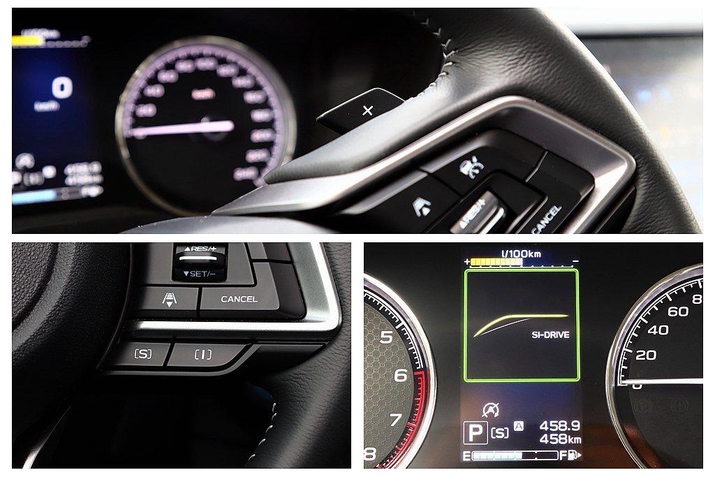 雙模式SI-DRIVE動力控制系統的S(Sport)運動模式,於爬坡或超車時使動...