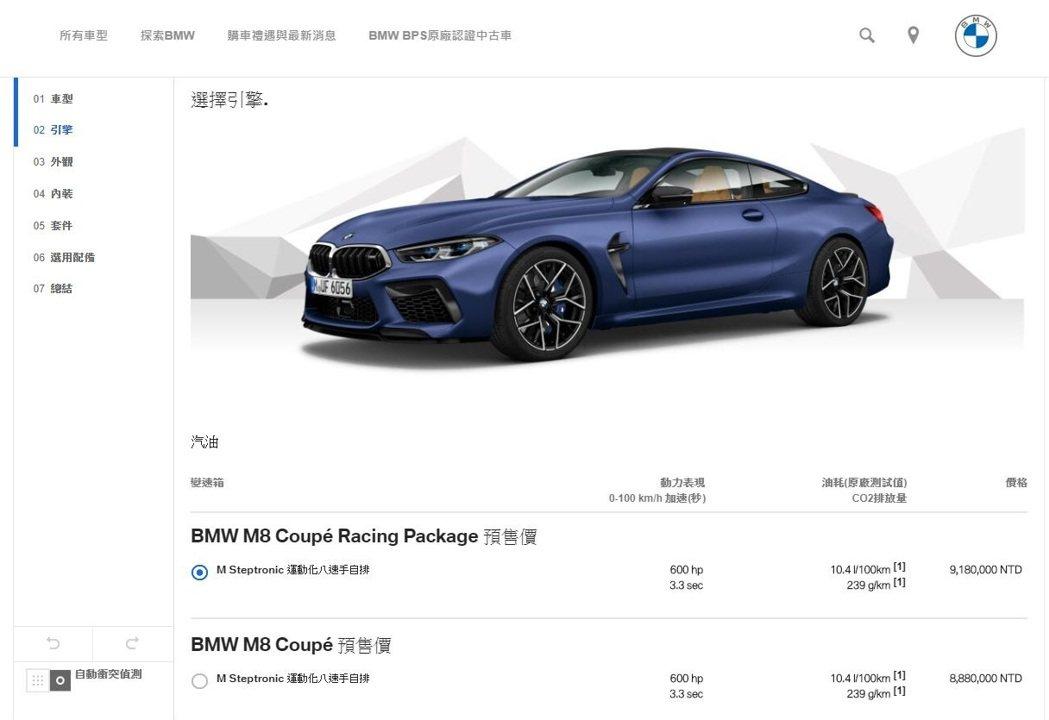 全新BMW M8 Coupe預售價888萬元起。 圖/截自BMW汎德官網