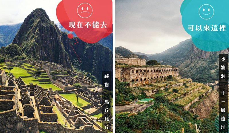東北角水湳洞十三層遺址拍起來有像秘魯的馬丘比丘。圖/福容大飯店福隆店提供