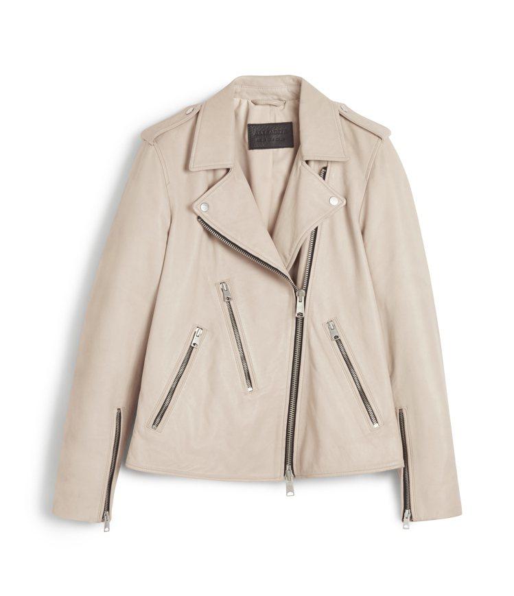 Riley白色騎士夾克17,900元。圖/AllSaints提供