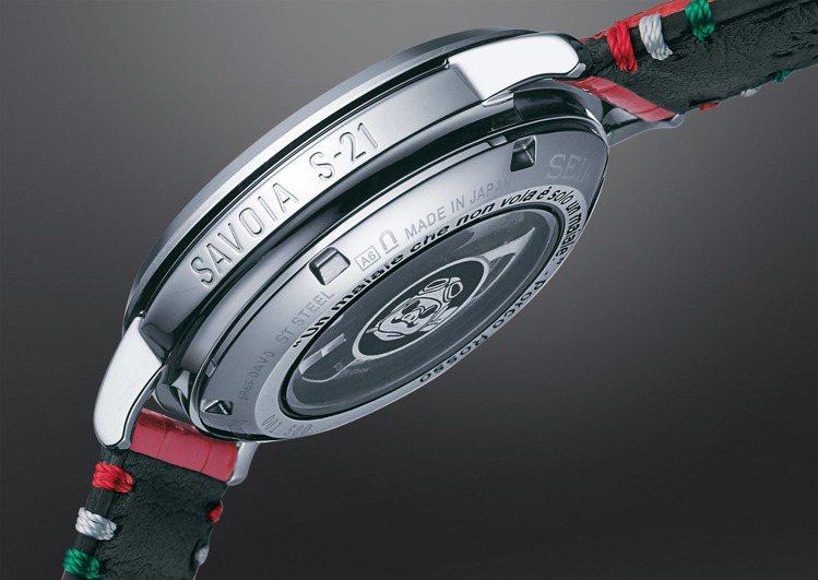 Presage吉卜力工作室紅豬聯名限量版腕表,表殼側邊也鐫刻了Savoia S-...