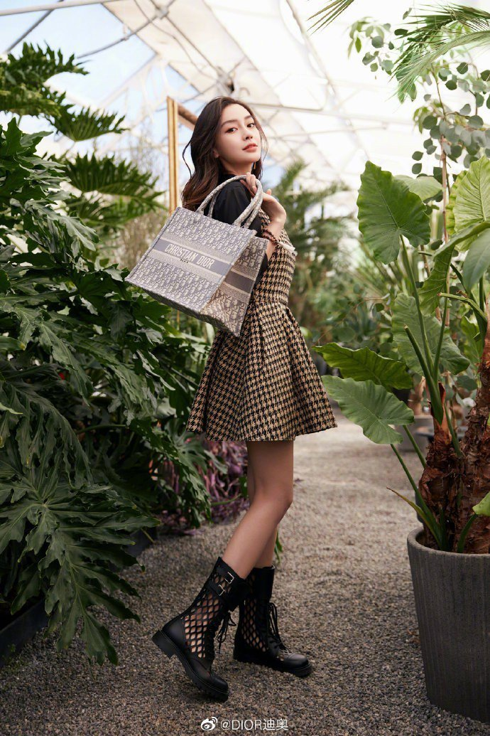 Angelababy選用Dioriviera系列Book Oblique石灰色帆...