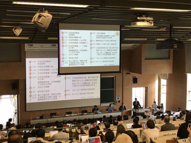 台大今天舉行校務會議,由校長管中閔主持。記者潘乃欣/攝影