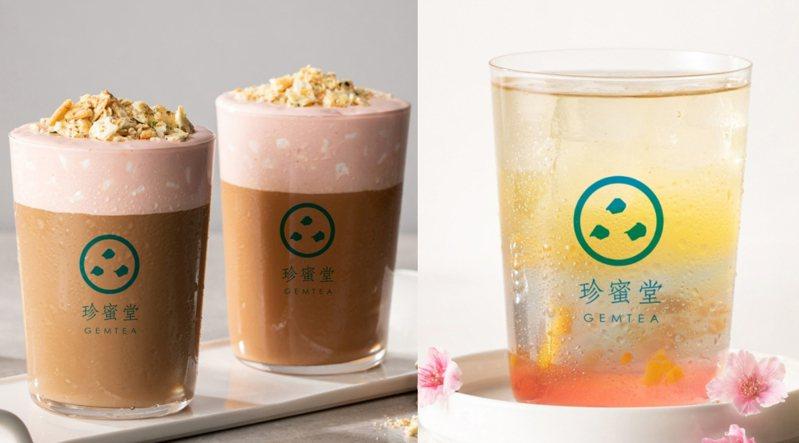 蔥餅牛軋糖奶茶售價新台幣70元、春櫻冷釀桂花飲為60元。圖/珍蜜堂提供