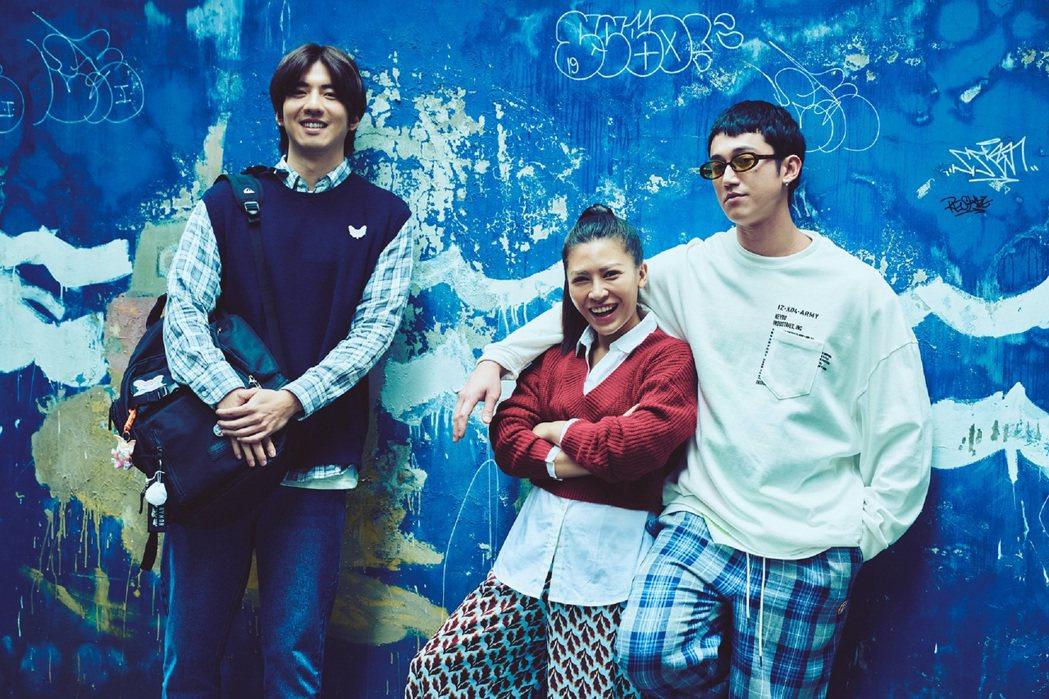 吳慷仁(右起)、艾怡良、傅孟柏不畏新冠肺炎,開鏡新片「我沒有談的那場戀愛」。圖/