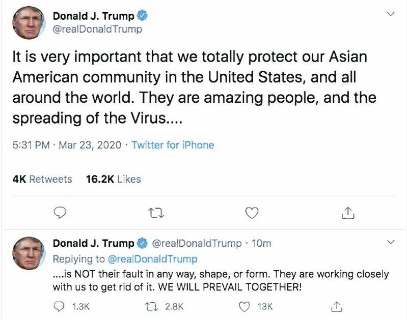 美國總統川普23日推特發文,指病毒傳播不是亞裔造成的。 圖/取自川普推特