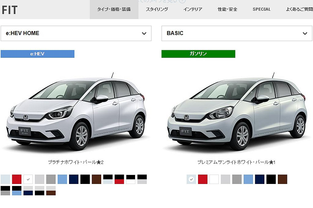 Honda Fit e:HEV有24%買家選購珍珠白車色,至於純然油動力車型,則...