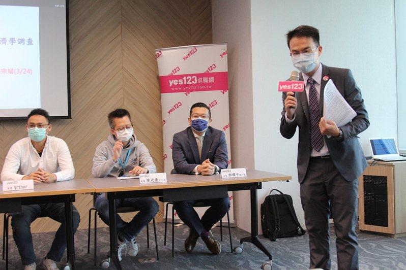yes123發言人楊宗彬(右)報告,防疫增加每月開銷為3,138元,抗疫商機上看286.4億元。(photo by 祝潤霖/台灣醒報)