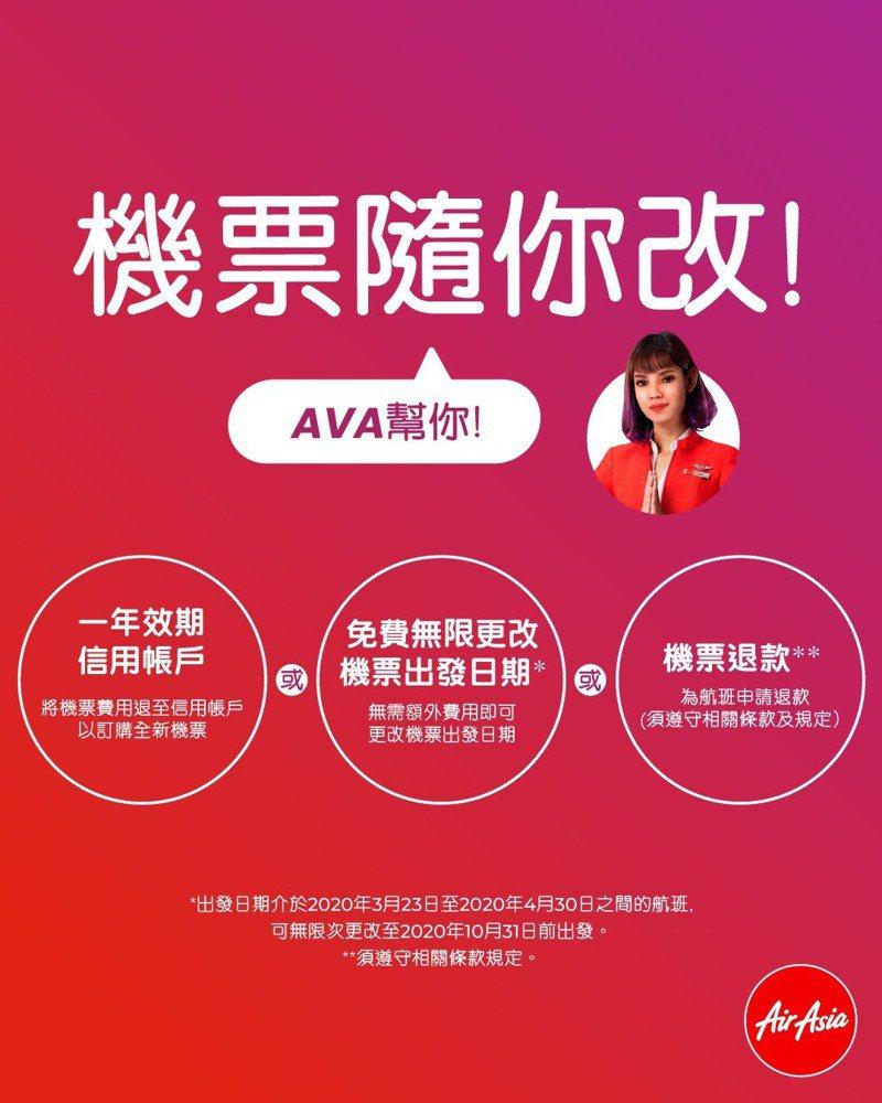 因應停飛,改票退票流程一圖說清楚。圖/AirAsia提供