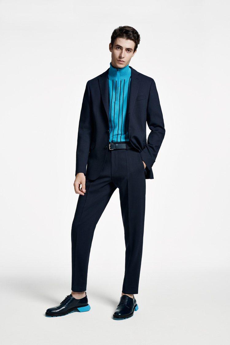 條紋或寬或窄、或直或橫,是男裝語彙中不敗的經典表情。圖 / HUGO BOSS提...