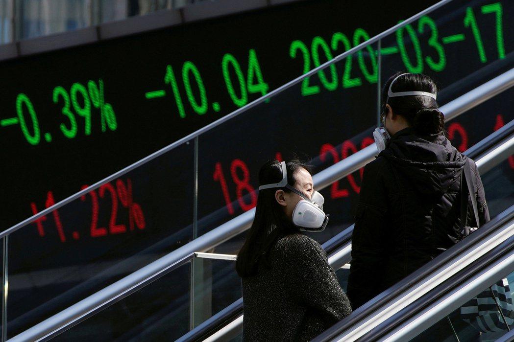 《中國褐皮書》指出,肺炎疫情對中國首季經濟造成嚴重傷害。圖攝於3月22日,上海。 圖/路透社