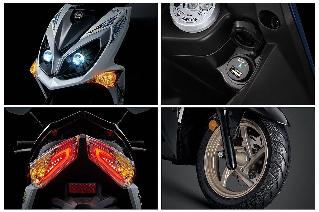 外露式LED魚眼大燈、光條式LED潮流尾燈、輕量化鋁合金輪圈以及USB QC 3...