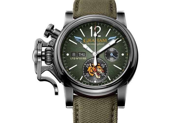 Graham,Chronofighter飛虎隊限量計時碼表。六點鐘方向的飛虎圖案...