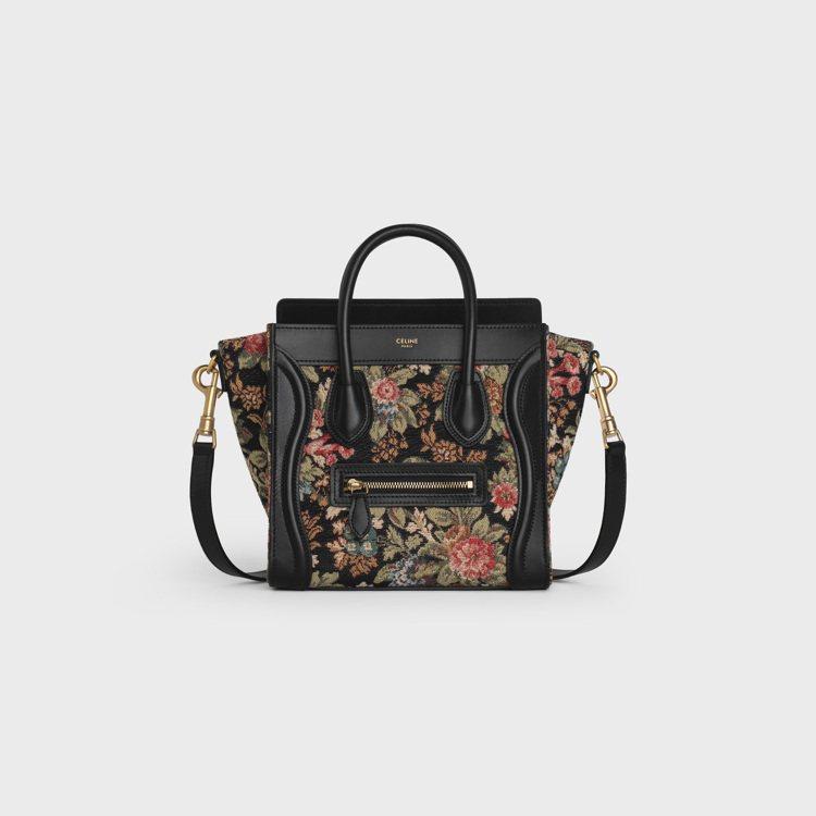 Luggage復古緹花與黝黑色小牛皮袖珍型肩背包,售價65,000元。圖/CEL...