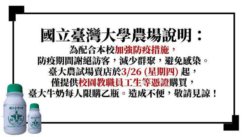 新冠肺炎疫情持續升溫,台大今天表示,台大農試場賣店明天起(3月26日),僅提供校園教職員工生憑證購買,且每人限購一瓶台大牛奶,減少群聚、避免感染。圖/台大提供