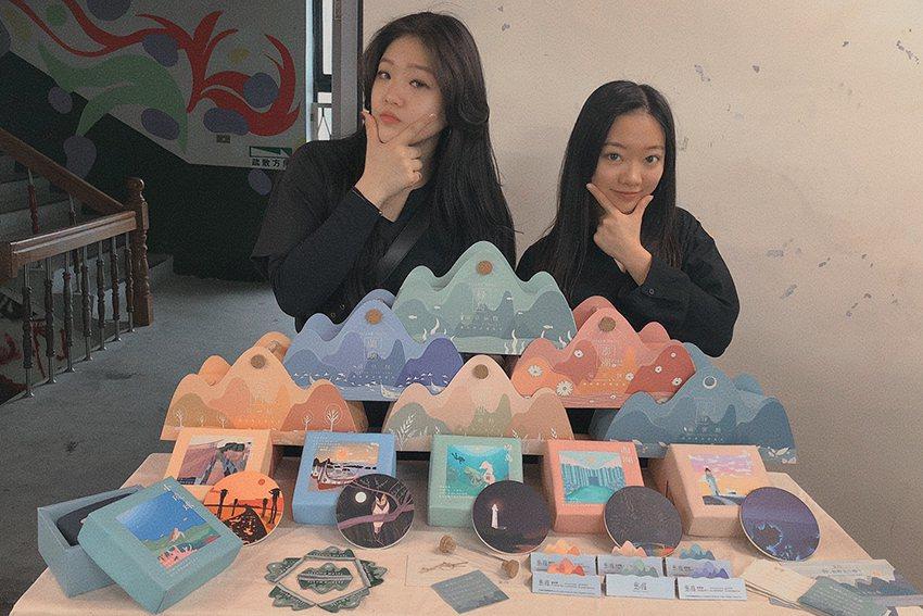 陳慈婕、吳依璇顛覆傳統伴手禮的創新包裝「島癮」。 萬能科大/提供