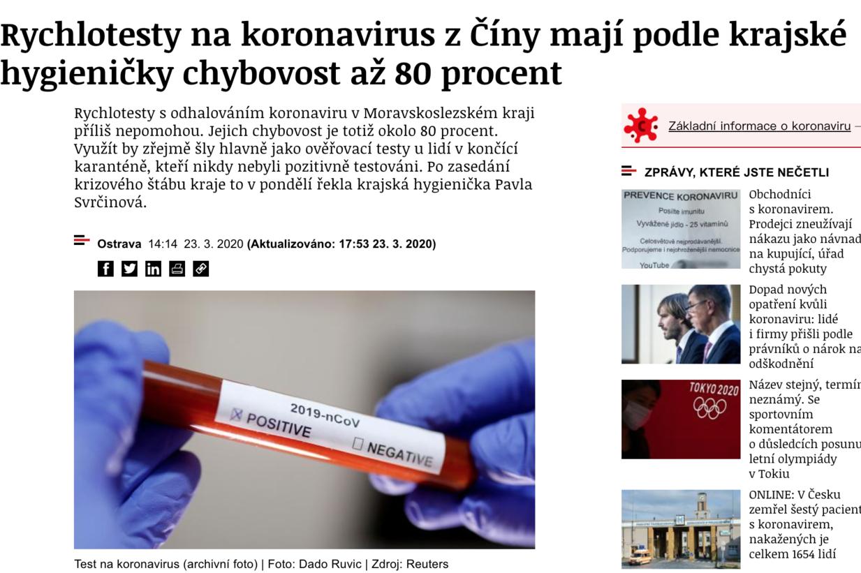 捷克向中國採購15萬個快篩劑 當地媒體:錯誤率高達80%