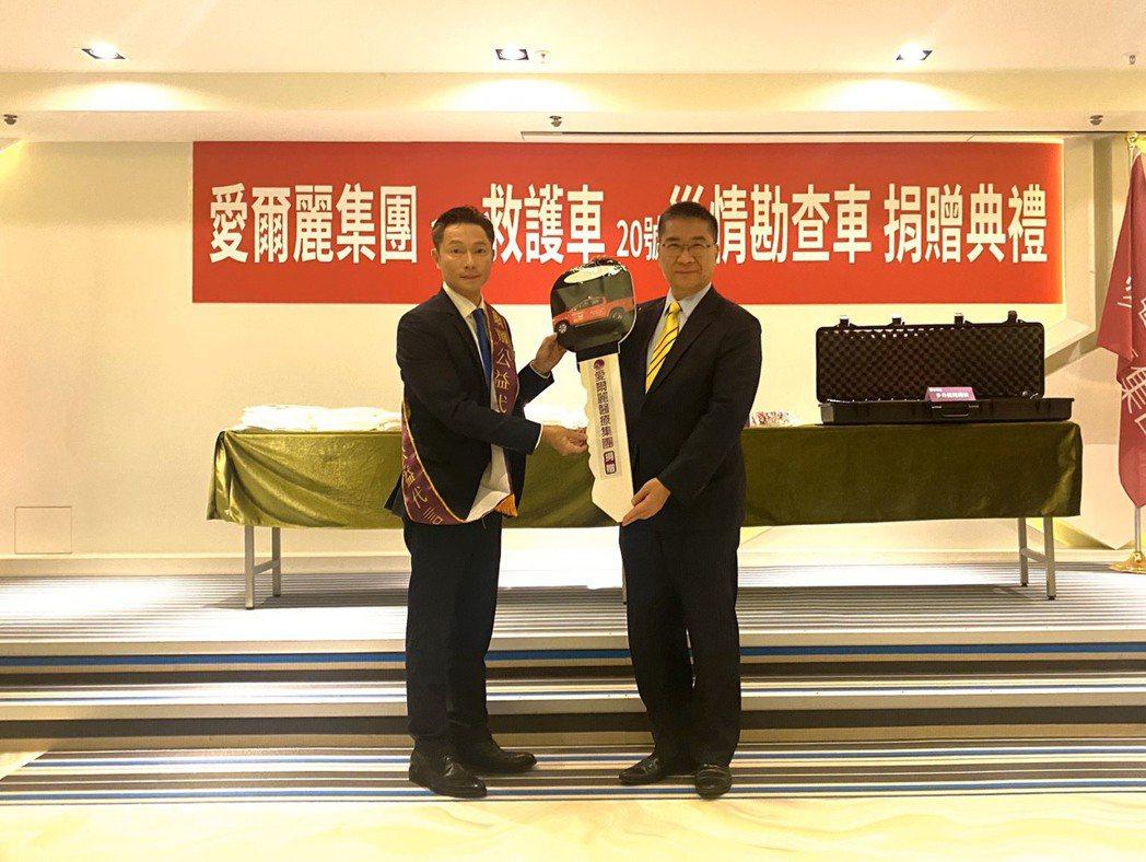 內政部長徐國勇到場表達感謝與嘉勉受贈單位。 賴俊明/攝影