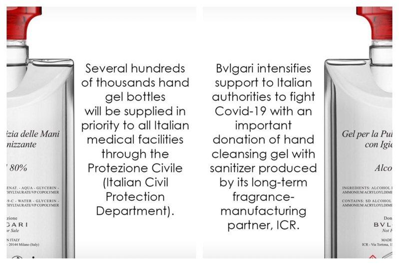 寶格麗投入抗疫團隊,將捐贈70萬瓶乾洗手給義大利的醫療單位。圖/取自IG @bulgari